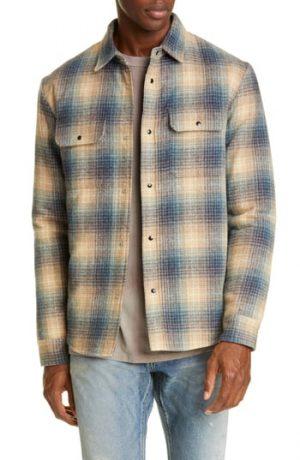 Men's John Elliott Jupiter Plaid Snap-Up Wool Blend Shirt, Size Large - Brown