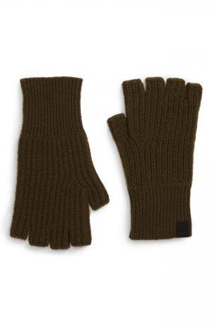 Men's Rag & Bone Ace Fingerless Cashmere Gloves, Size One Size - Green