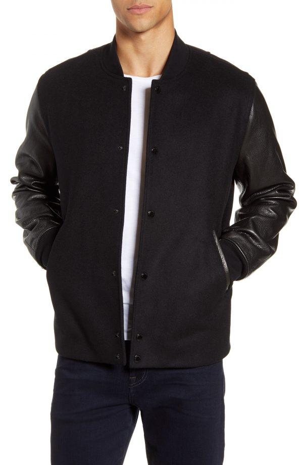 Men's Rag & Bone Boulder Slim Fit Wool Blend & Leather Jacket, Size Small - Black