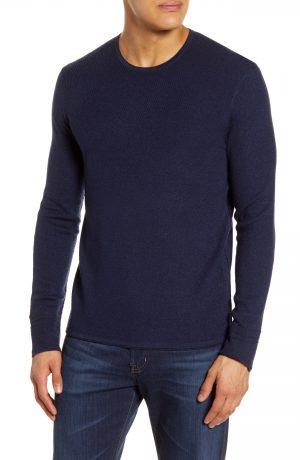 Men's Rag & Bone Davis Long Sleeve Thermal Wool & Linen Blend T-Shirt, Size Medium - Blue