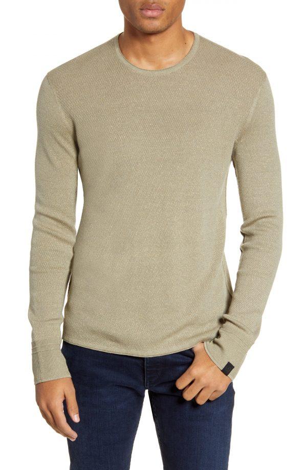 Men's Rag & Bone Davis Long Sleeve Thermal Wool & Linen Blend T-Shirt, Size Small - Green