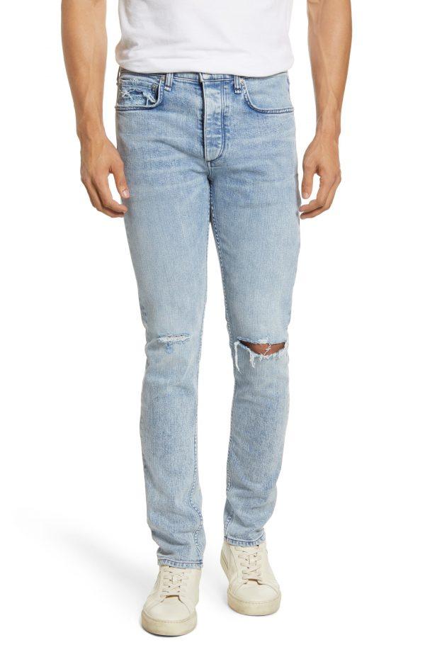 Men's Rag & Bone Fit 1 Skinny Fit Ripped Jeans, Size 28 - Blue