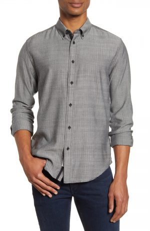 Men's Rag & Bone Fit 2 Tomlin Slim Fit Herringbone Button-Down Shirt, Size Small - Black
