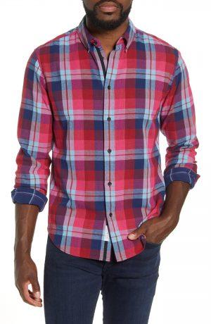 Men's Rag & Bone Fit 2 Tomlin Slim Fit Plaid Button-Down Oxford Shirt, Size Medium - Burgundy