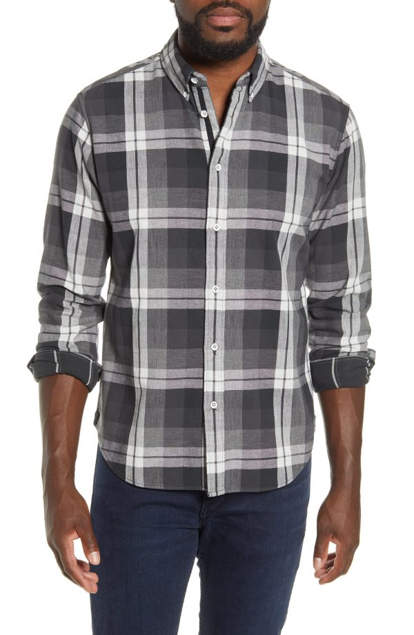 Men's Rag & Bone Fit 2 Tomlin Slim Fit Plaid Button-Down Oxford Shirt, Size Small - Black