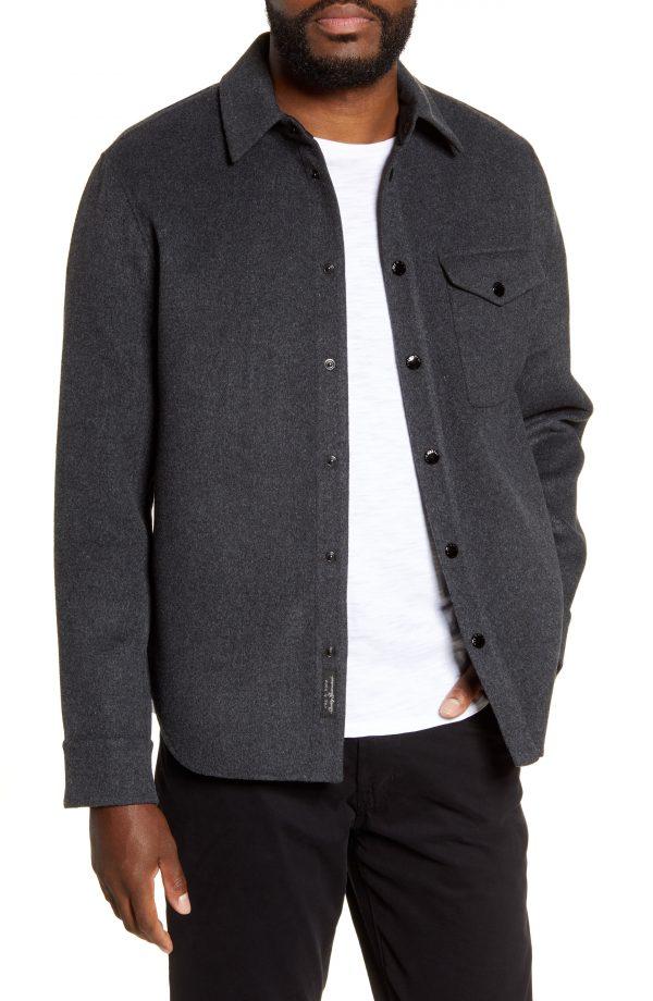 Men's Rag & Bone Principle Snap-Up Wool Blend Shirt Jacket, Size Small - Grey