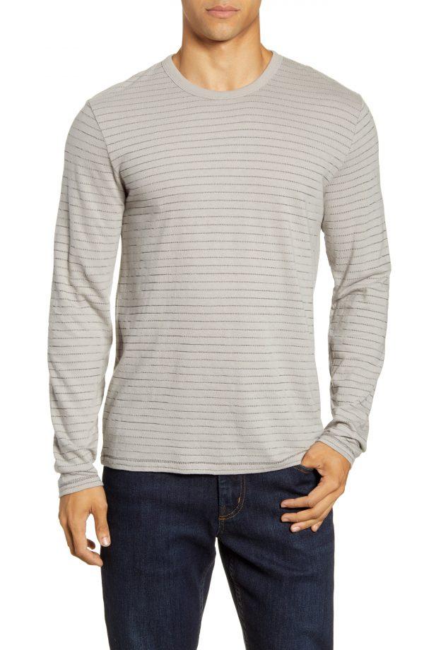 Men's Rag & Bone Stripe Long Sleeve T-Shirt, Size Medium - Black