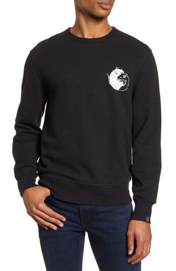 Men's Rag & Bone Yin Yang Rat Crewneck Sweatshirt, Size Small - Black