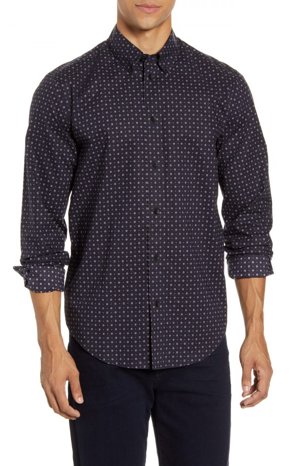 Men's Rag & Bone Zac Slim Fit Geo Dot Button-Down Shirt, Size Small - Black