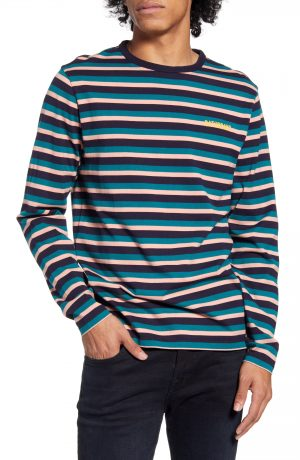 Men's Saturdays Nyc Alek Stripe Long Sleeve T-Shirt, Size Small - Blue