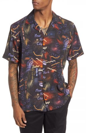 Men's Saturdays Nyc Canty Midnight Paradise Short Sleeve Button-Up Camp Shirt, Size Small - Blue