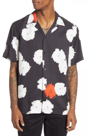 Men's Saturdays Nyc Canty Moonflower Short Sleeve Button-Up Camp Shirt, Size X-Small - Black