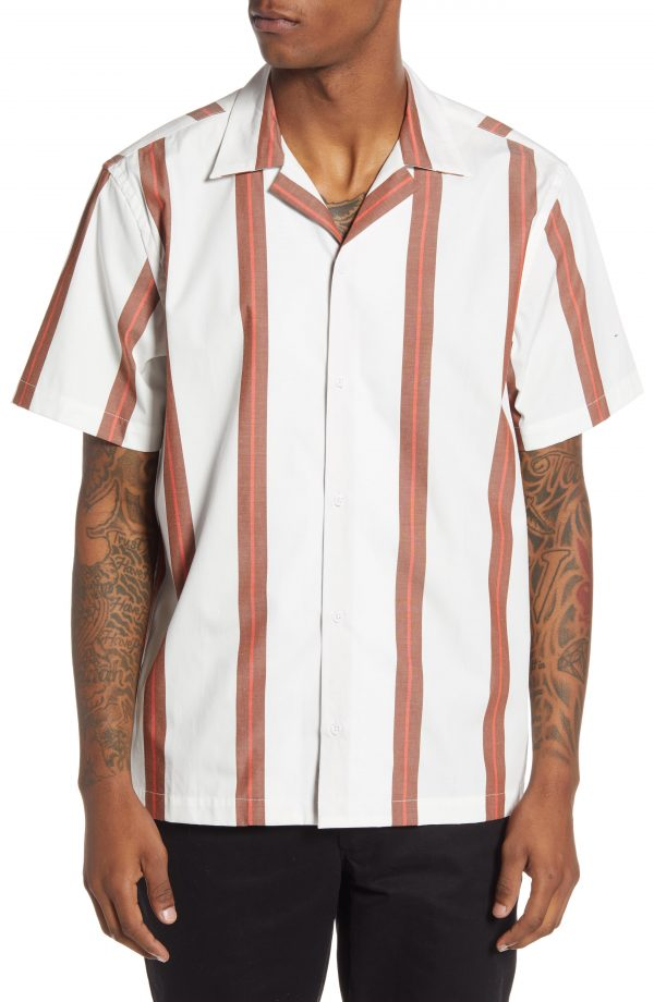 Men's Saturdays Nyc Canty Stripe Short Sleeve Button-Up Camp Shirt, Size X-Small - Ivory