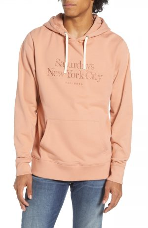 Men's Saturdays Nyc Ditch Miller Embroidered Pullover Hoodie, Size X-Large - Orange