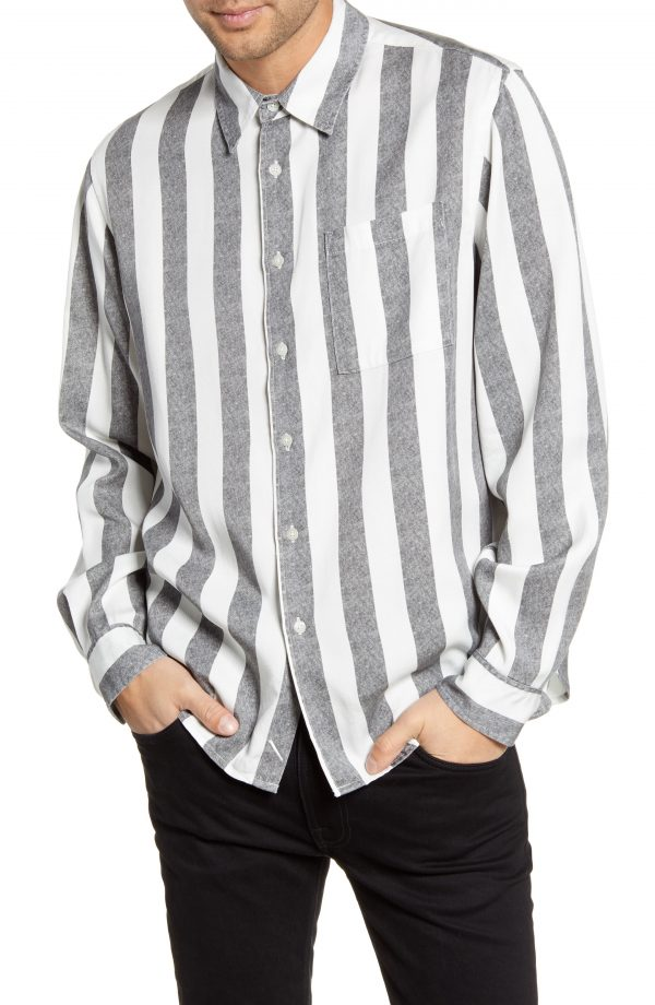Men's Saturdays Nyc Perry Stripe Button-Up Twill Shirt, Size Small - Black