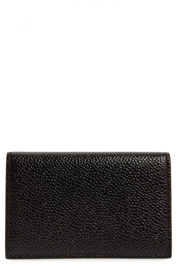 Men's Thom Browne Leather Business Card Holder - Black