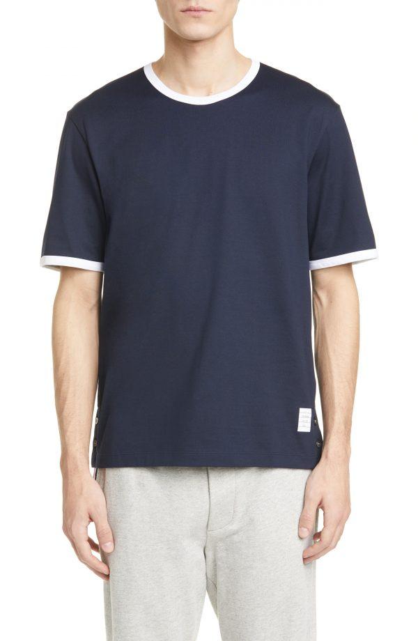Men's Thom Browne Ringer Wool T-Shirt, Size 2 - Blue