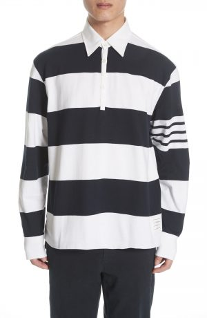 Men's Thom Browne Stripe Rugby Polo, Size 3 - Blue