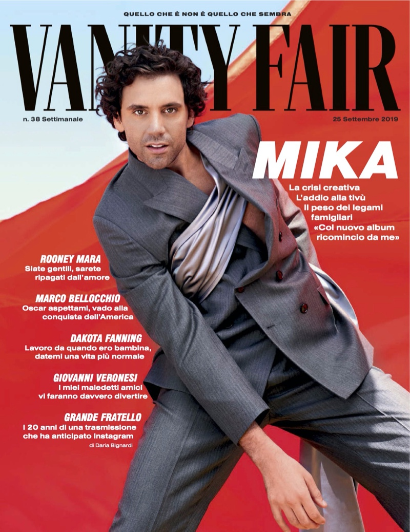 Mika covers Vanity Fair Italia in a look from Dior Men.