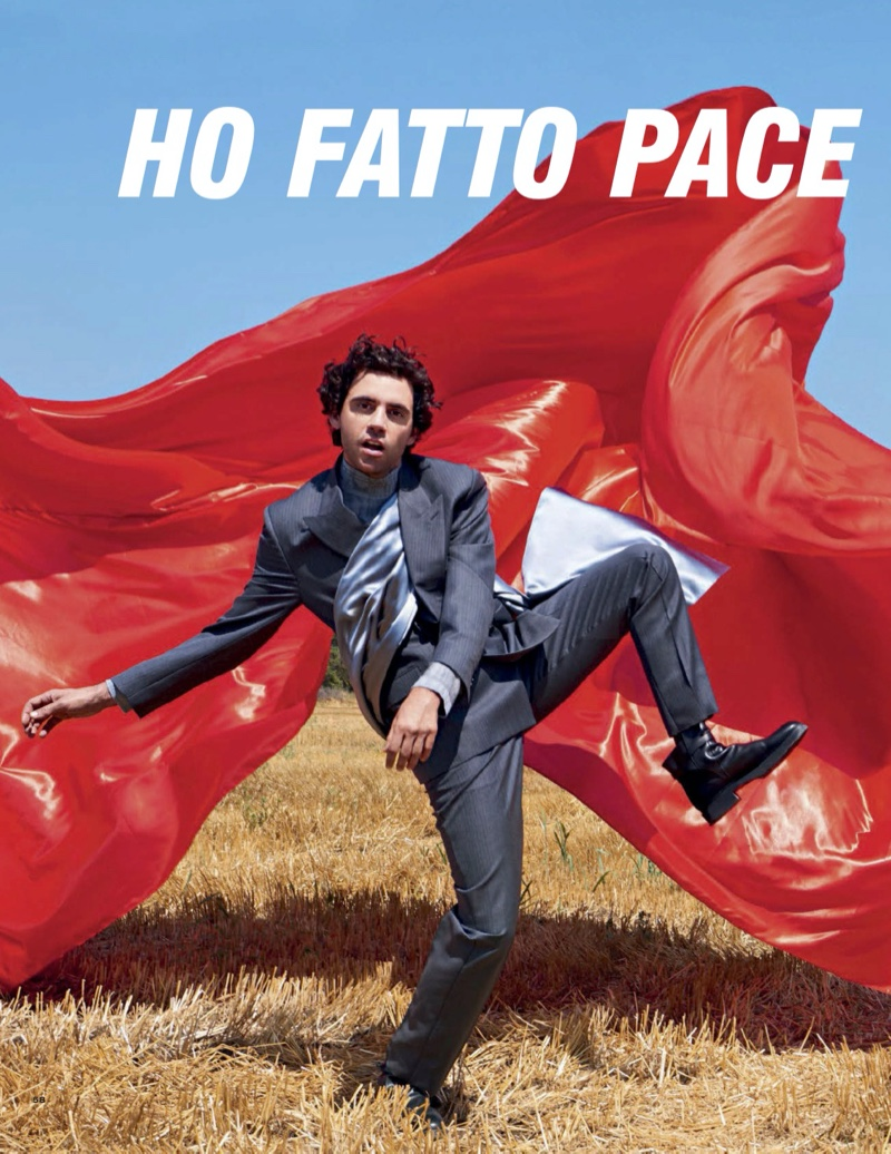 Starring in a photo shoot for Vanity Fair Italia, Mika dons a Dior Men look with Hermès leather boots.