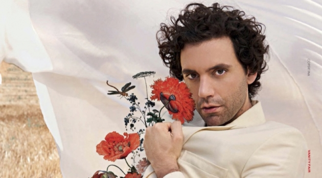 A vision in a cream-colored look, Mika wears Jacquemus for Vanity Fair Italia.