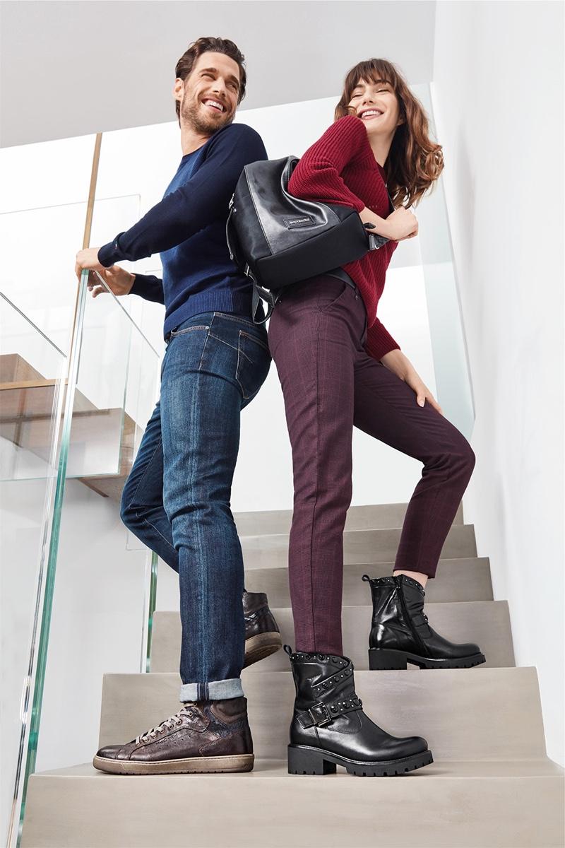 All smiles, Simone Bredariol and Mara Lafontan front Nero Giardini's fall-winter 2019 campaign.