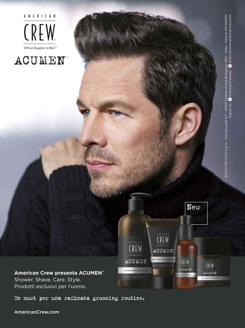 Paul Sculfor delivers a side profile as he appears in a grooming campaign for American Crew's Acumen line.