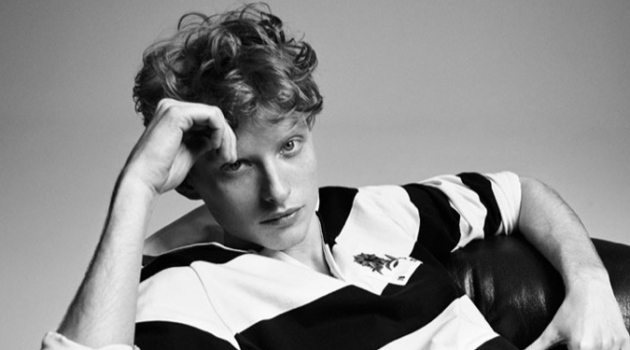 Iwan Zalewski sports a rugby style polo from Pepe Jeans' pre-spring/summer 2020 collection.