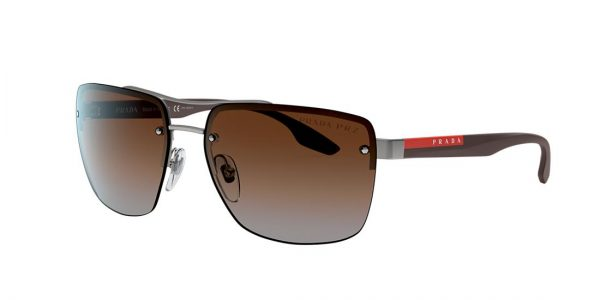 Prada Linea Rossa Man PS 60US - Frame color: Gunmetal, Lens color: Brown, Size 62-16/140