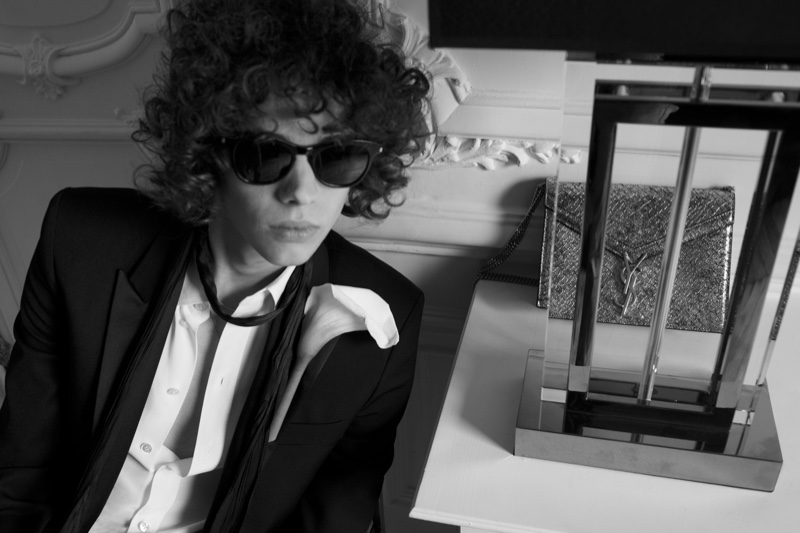 Erin Mommsen is a chic vision in sharp tailoring from Saint Laurent.