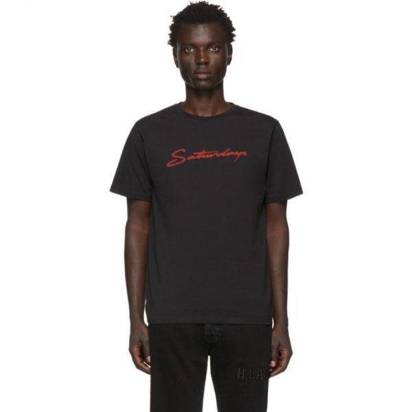 Saturdays NYC Black Neon Script T-Shirt