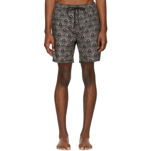 Saturdays NYC Black and Beige Deco Timothy Swim Shorts
