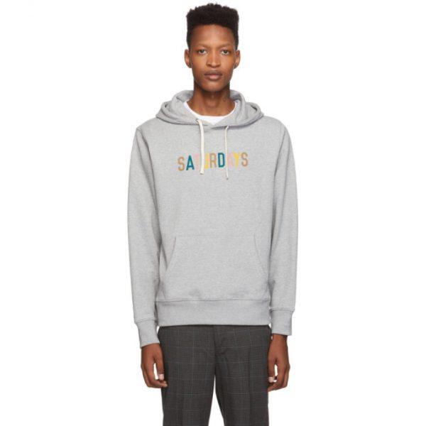 Saturdays NYC Grey Multicolor Logo Ditch Hoodie