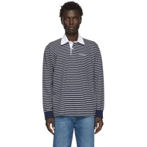 Saturdays NYC Grey and Navy Sanders Striped Polo