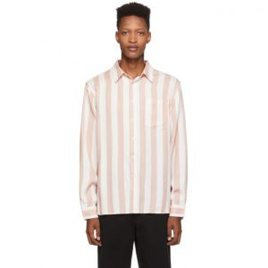 Saturdays NYC Pink and White Jumbo Stripe Perry Shirt