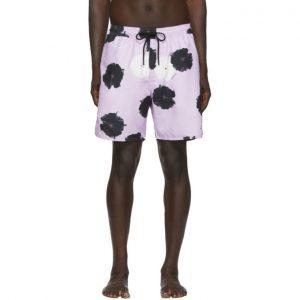 Saturdays NYC Purple Timothy Moon Flower Swim Shorts