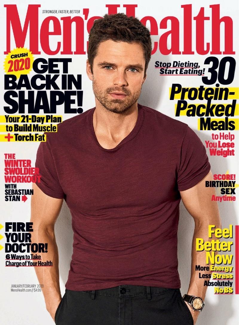 Sebastian Stan covers the January/February 2020 issue of Men's Health.