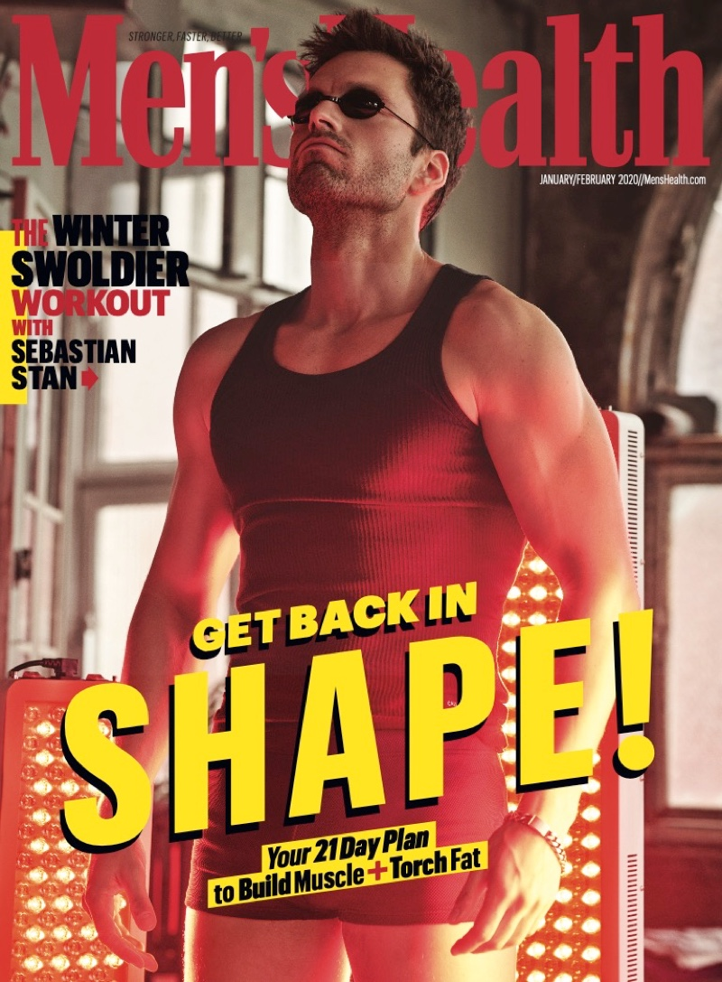 Actor Sebastian Stan appears on the subscriber's cover of the January/February 2020 issue of Men's Health.
