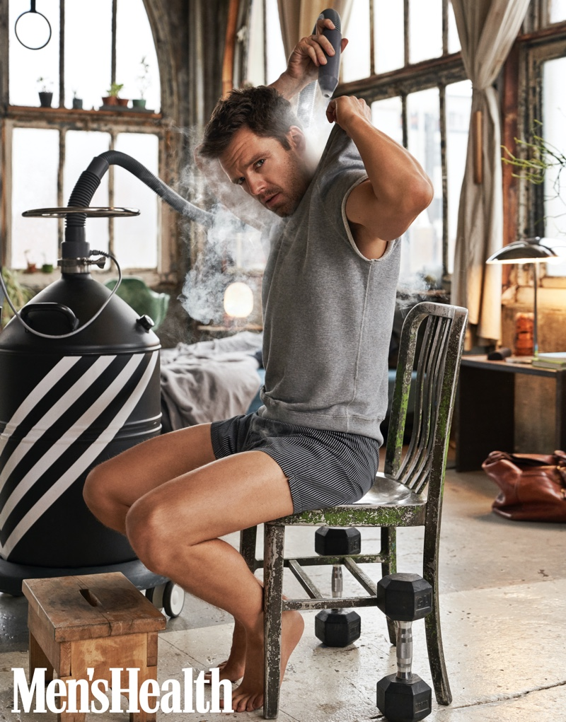 Front and center, Sebastian Stan dons a Hiro Clark sweatshirt with Emporio Armani boxers for Men's Health.