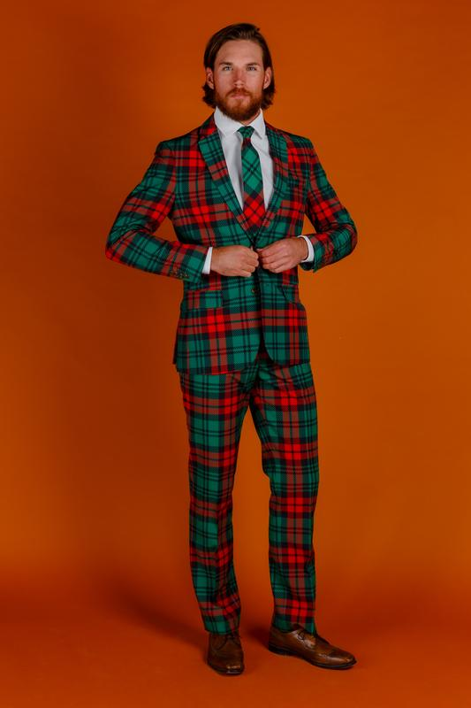 Shinesty Lincoln Log Love Daddy Red Plaid Ugly Christmas Suit
