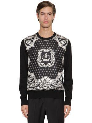 Silk Twill & Virgin Wool Knit Sweater