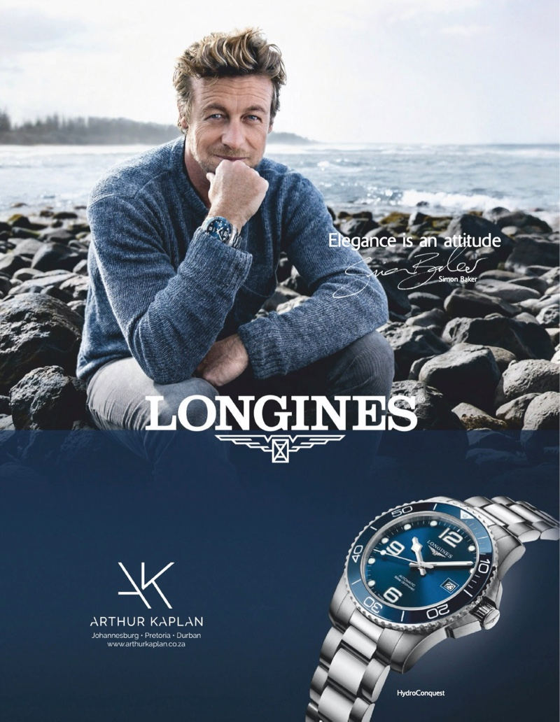 Actor Simon Baker is the face of Longines as he stars in a campaign for the brand.