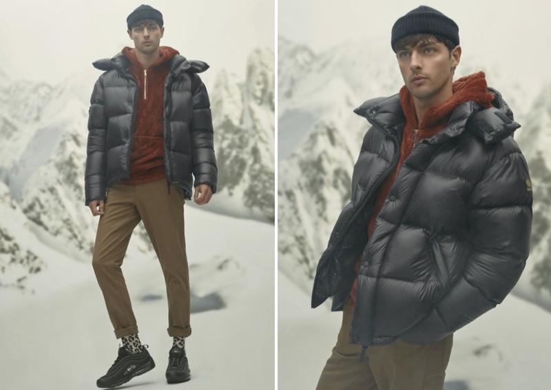 Stepping outdoors, Hannes Gobeyn wears a Kanuk Misto shiny down puffer jacket.