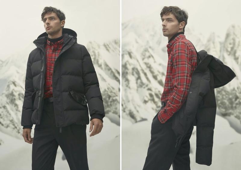 Donning red and black, Hannes Gobeyn sports a Rudsak Dayko monochrome puffer jacket.