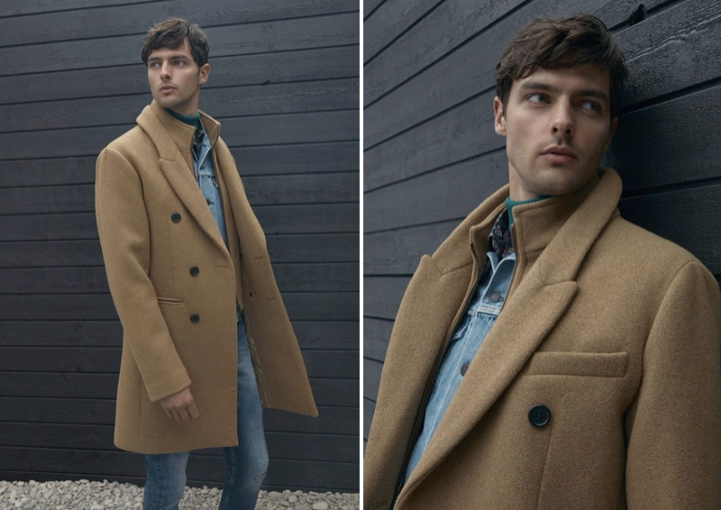 Hannes Gobeyn dons a LE 31 double-collar recycled wool coat.