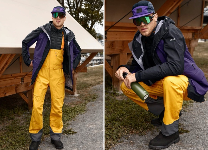 Ready for snowboarding, Matthew Noszka models an Orage 3-in-1 insulated coat with bib pants.