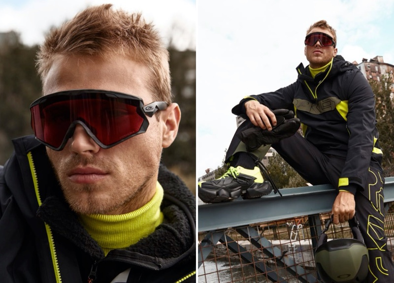 Making a case for neon yellow, Matthew Noszka rocks an insulated anorak and overalls from Oakley.
