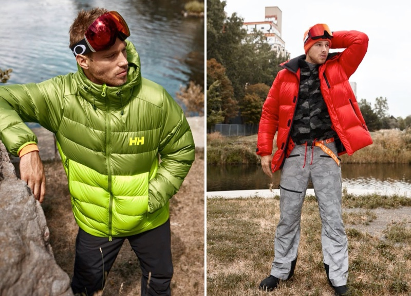 Pictured left, Matthew Noszka wears a down coat by Helly Hansen. Right: Stepping out in Fire + Ice, Matthew Noszka dons a 3D puffer coat with camo pants and a sherpa jacket.