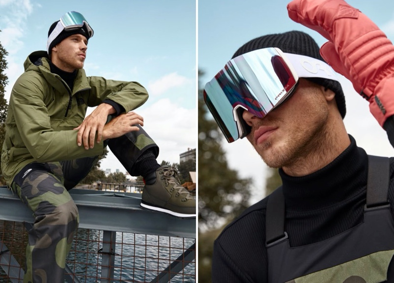 Model Matthew Noszka wears an anorak and camo bib pants from The North Face.