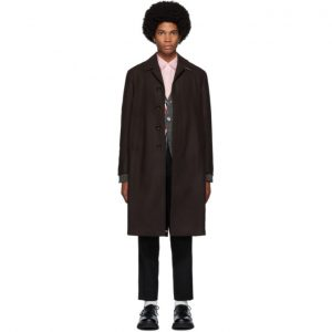 Thom Browne Burgundy Melton Relaxed Unconstructed Coat